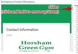 HGG contact form slider